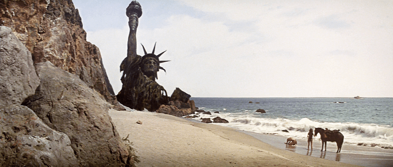 Image of the final shot of Planet of the Apes, 1968