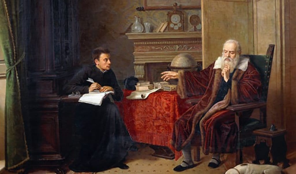 Painting of Galileo Galilei with a student